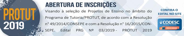 PROTUT 2019 -  Edital PRG Nº 03/2019 - PROTUT 2019